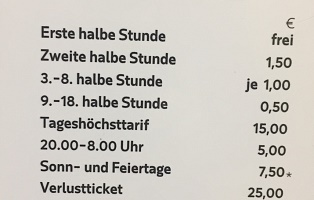 Price list Garage Kultur Quartier